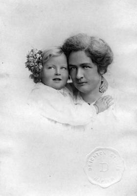 An unidentified woman and child