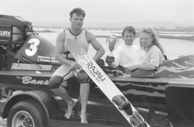 Clive club skier Quenton Swayn, driver Tom Curran and observer Tara Townshend