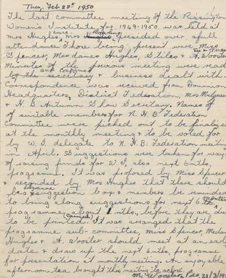 Minute book and Notices, Rissington Country Women's Institute