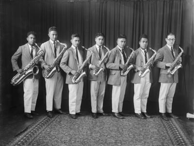 A group portrait of the Māori Agricultural College band