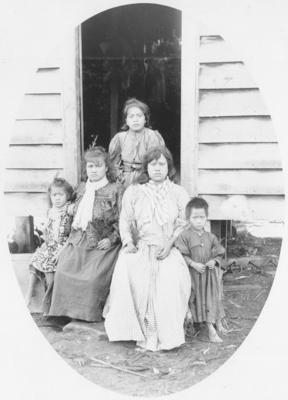A group portrait of a whānau at Waihaha, Taupo