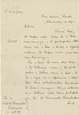 Letter, Watene Toromata