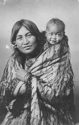 A portrait of a Māori wahine and her baby