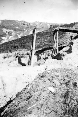 Construction of railway line over a valley