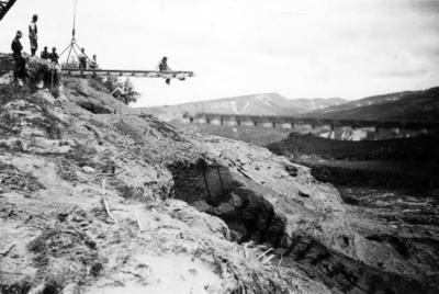 Construction of railway track over a valley