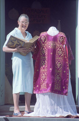 Joan Maclaurin is surrounded by historic religious items
