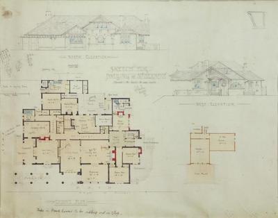 Architectural plan, Sketch for dwelling at Mt Herbert, Waipukurau