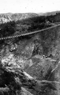The construction of a rail track and bridge on the East Coast railway line