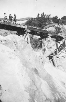 A railway bridge spanning a gully on the East Coast railway line