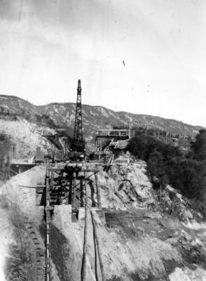 A crane on a rail bridge on the East Coast railway line