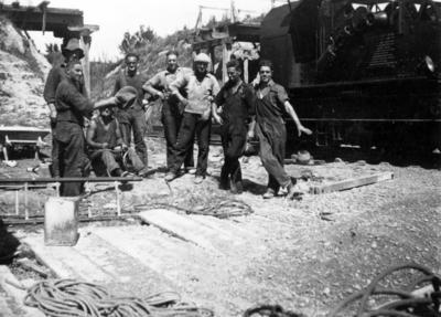 Railway workers on the East Coast railway line
