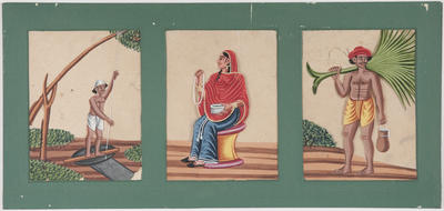 Untitled - a man holding a rope, a woman with beads, a man carrying a palm