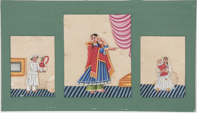 Untitled - man with smoking pipe, woman in red cape, young girl with doll