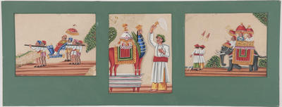 Untitled - men carrying a sedan chair, a man with an animal statue, and an elephant carrying men