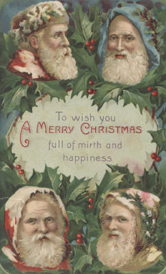 Christmas postcard, addressed to Wilfred Harding