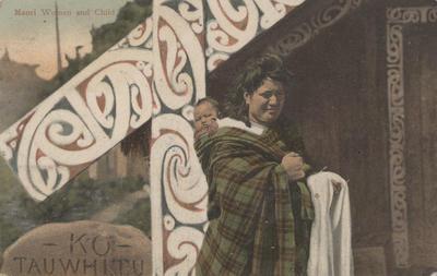 Postcard, Māori Woman and Child; Pringle, Thomas