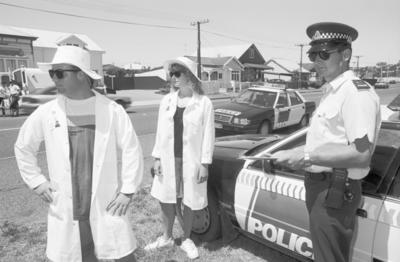 Licence Checks, from left - right, David Valentine , Rachel Ennor and Constable John McCarthy