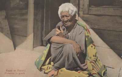 Postcard, photograph of a kuia (elderly Māori woman); Pringle, Thomas