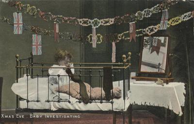 Postcard, Xmas Eve, Baby Investigating