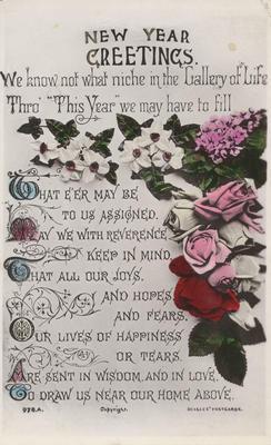 Postcard, New Year Greetings; J Beagles & Co., Ltd