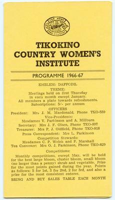 Programme, Tikokino Country Women's Institute; Tikokino Women's Institute; Waipawa Mail; 2013/56/112
