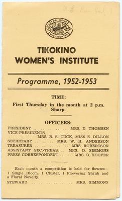 Programme, Tikokino Country Women's Institute; Tikokino Women's Institute; Waipawa Mail; 2013/56/99