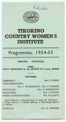 Programme, Tikokino Country Women's Institute; Tikokino Women's Institute; Waipawa Mail; 2013/56/100