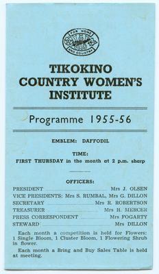 Programme, Tikokino Country Women's Institute; Tikokino Women's Institute; Waipawa Mail; 2013/56/101