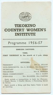 Programme, Tikokino Country Women's Institute; Tikokino Women's Institute; Waipawa Mail; 2013/56/102