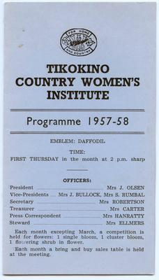 Programme, Tikokino Country Women's Institute; Tikokino Women's Institute; Waipawa Mail; 2013/56/103
