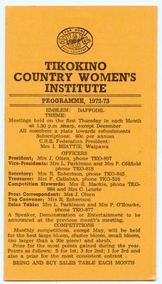Programme, Tikokino Country Women's Institute