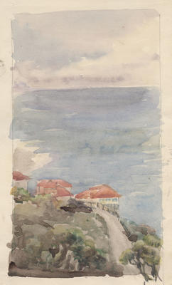 Untitled - view of sea from hillside village