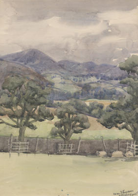 Untitled - fenced trees and hills; Malden, Gwen