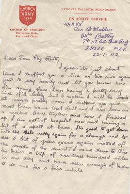 Letter, Bernard Madden; Madden, Bernard Oswald Joseph; Church Army; 2013/65/24