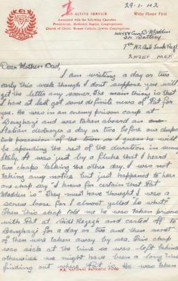 Letter and envelope, Bernard Madden; Madden, Bernard Oswald Joseph; Church Army; 2013/65/27