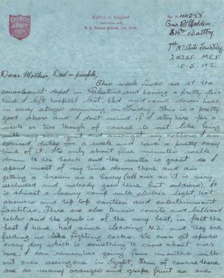 Letter and envelope, Bernard Madden
