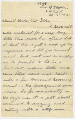 Letter and envelope, Bernard Madden; Madden, Bernard Oswald Joseph; Church Army; 2013/65/52