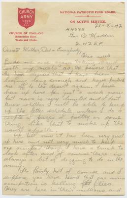 Letter and envelope, Bernard Madden; Madden, Bernard Oswald Joseph; Church Army; 2013/65/55