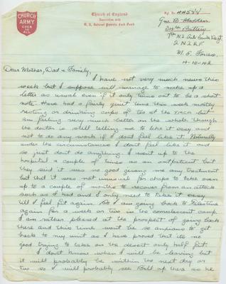 Letter and envelope, Bernard Madden; Madden, Bernard Oswald Joseph; Church Army; 2013/65/59