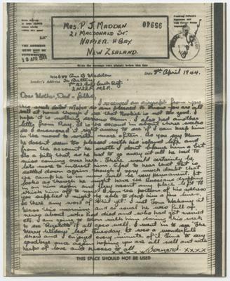 Airmail Letter and Envelope, Bernard Madden