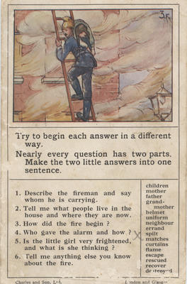 Teaching card, the Fireman; Charles and Son, Ltd; 2014/12/2