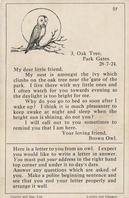 Teaching card, Brown Owl; Charles and Son, Ltd; 2014/12/3