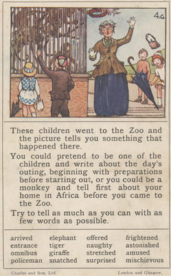 Teaching card, the Zoo