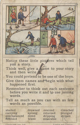 Teaching card, children going fishing