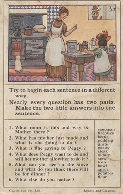 Teaching card, Peggy and her mother cooking