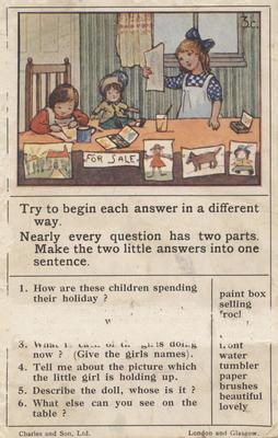Teaching card, the school holidays