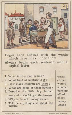 Teaching card, buying ice creams