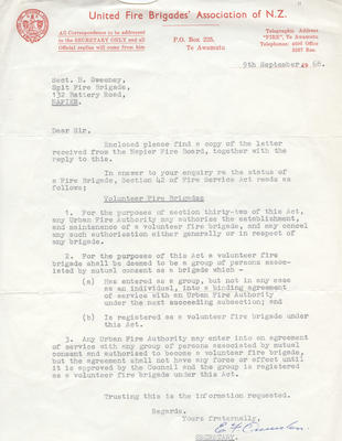 Letter, United Fire Brigades' Association of New Zealand to Spit Fire Brigade; United Fire Brigades' Association; 2014/3/11