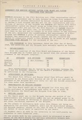 Manuscript, Agreement between Napier Fire Board and Napier Volunteer Fire Brigade