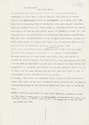 Manuscript, Te Mata Park; Lovell-Smith, R M